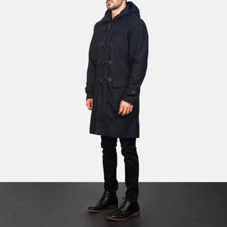 Drake Black Wool Duffle Coat
