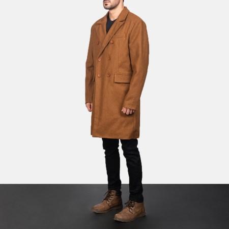 Claud Khaki Wool Double Breasted Coat
