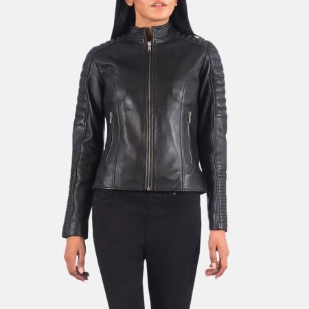 Adalyn Quilted Black Leather Biker Jacket