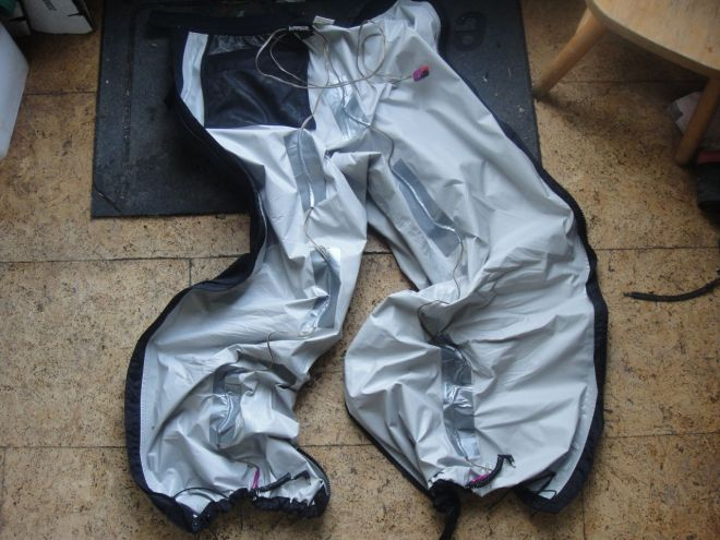 rain pants all wired up