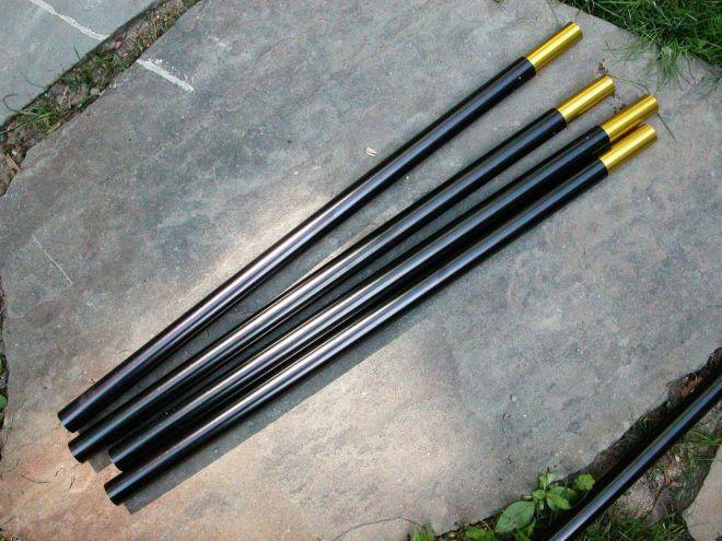 "(4) 18"" x .626"" aluminum tent poles with inserts"