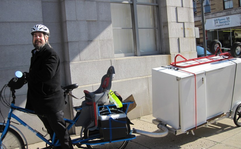 Fridge on a bike trailer