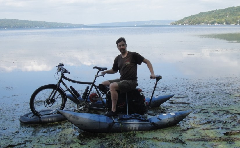 boating mode: the boat carries the bike