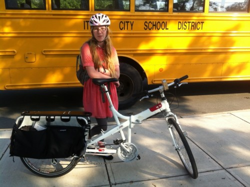 One of my Millenials gets a ride to school on the new Cargo Joe cargo bike.