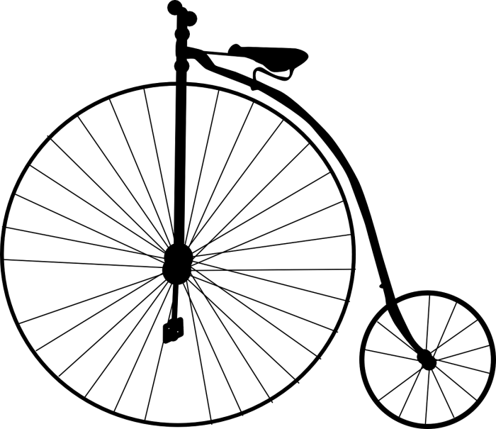 high wheel bicycle missing two spokes