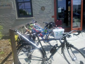 Bike rack made of bike parts at Sun People Dry Goods/Spokane Public Market.