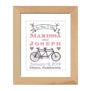 Good bike wedding gift: Print with tandem