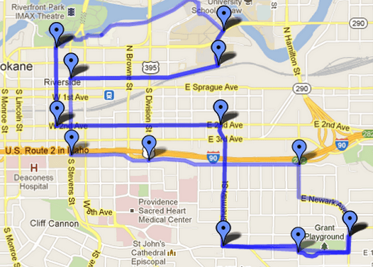 Title Nine Women's Bike Ride June 23, 2012. Map of route.