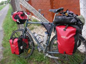 Bicycle loaded for touring with travel gear