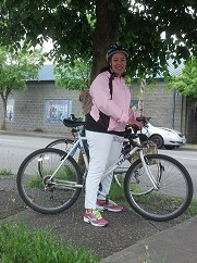Andrea Bell of Tacoma, Bike to Work Day, Olympia.