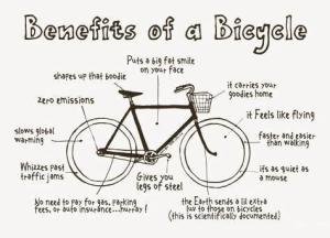 """Sketch of a bicycle with text labels of benefits like """"puts a big fat smile on your face"""" and """"zero emissions""""."""