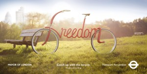 "Bicycle with the word ""freedom"" as the frame and handlebars. Source: Transport for London"