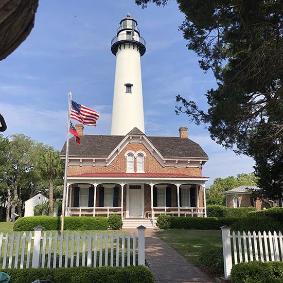 St Simons Island-Lighthouse blue sky American Flag