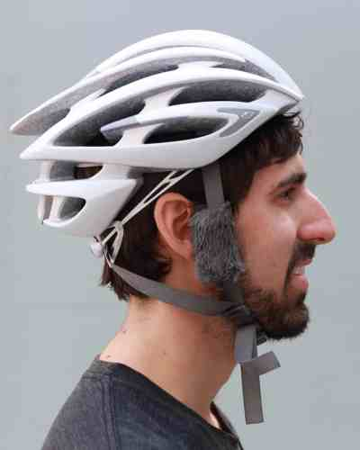 Side shot of someone wearing a helmet with Cat Ears
