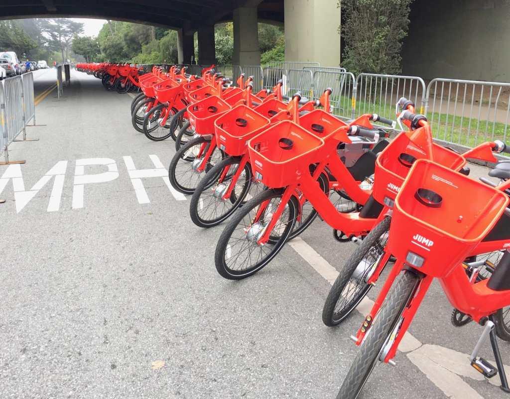rows of jump bikes