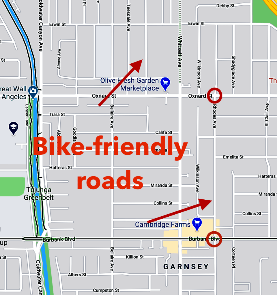 Bike friendly roads on google maps that aren't notated, as well as large intersections.