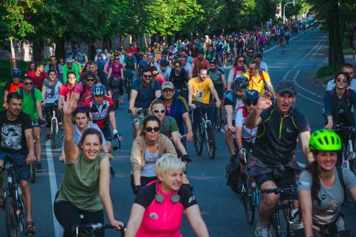People enjoying critical mass on their bicycles in Belgrade, Serbia.