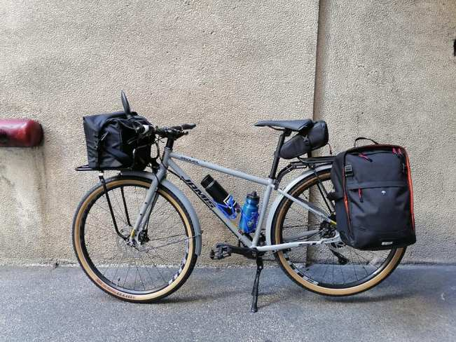 fully loaded commuter bike with fenders, rear rack, bags, and everything!