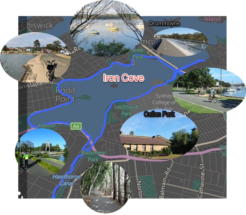 The Iron Cove Cycleway map