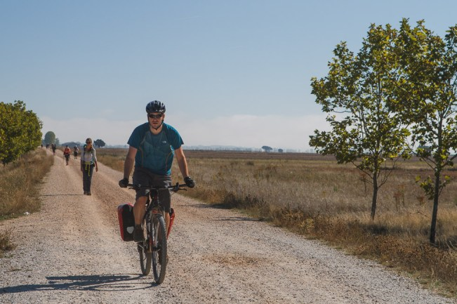 Passing Hikers on the Camino