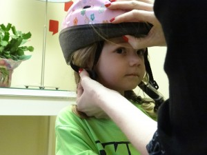 Nevaeh gets a bike helmet 1