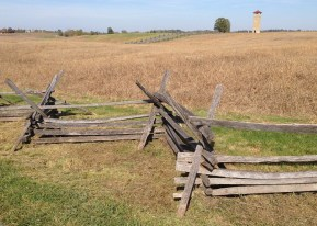 Split-rail fences border the farm fields around Sharpsburg, a calm and quiet countryside that for one day in 1862 was transformed into hell on earth.