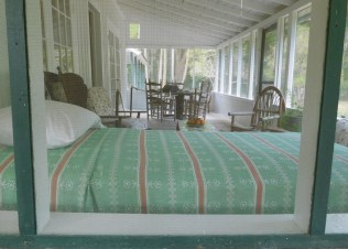 The sleeping porch at Rawlings' house, where she probably spent many a hot and humid Florida night.