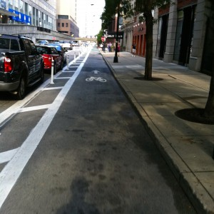 Bike lane protected by car parking Chicago, IL
