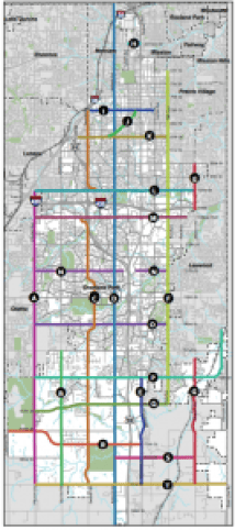 """Map of Overland Park's """"City Network"""" bicycle corridors."""