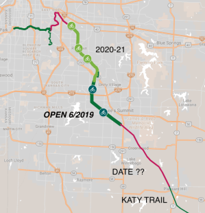 Rock Island Corridor Trail Phases and Connections. Updated June 2019.