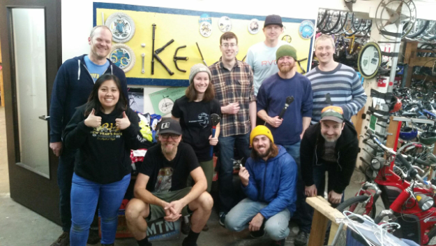 Group shot of the evo technology team - evo Volunteer Day at Bike Works
