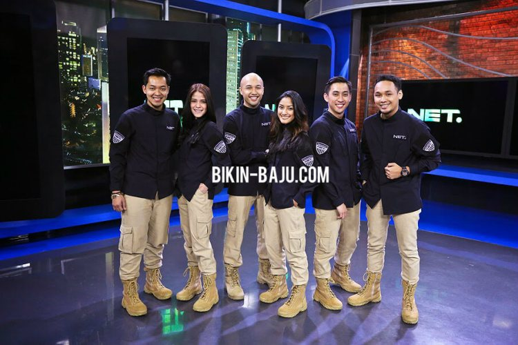 bahan seragam net tv, desain seragam the east net tv, jaket net tv, seragam net tv mediatama