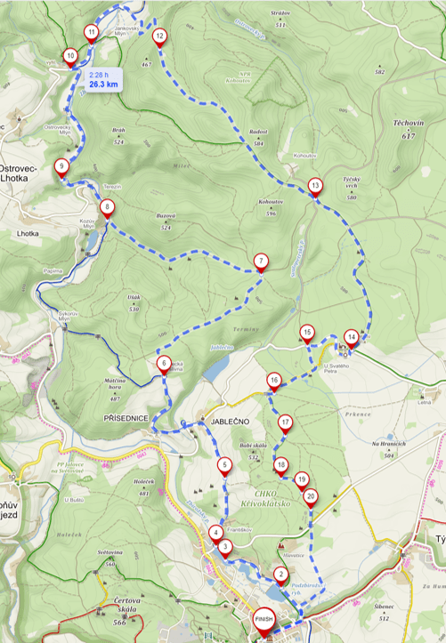 Map of the ride around Zbiroh