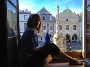 In the hotel window