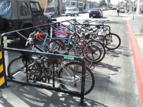 A brand new bike corral, full on a Friday afternoon.