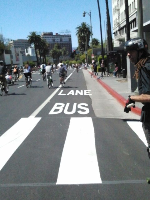 This was my first chance to ride the new Wilshire Blvd Bus — and bike — Only Lanes.