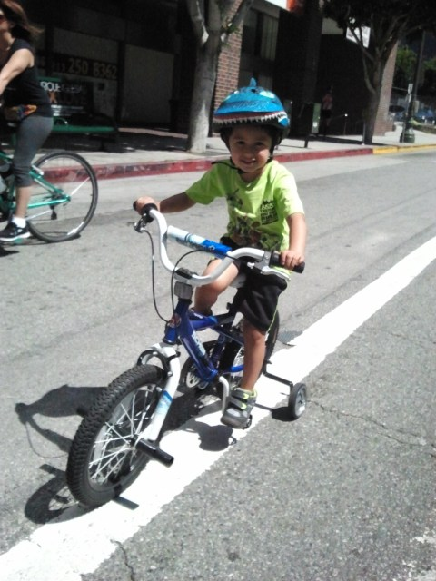 This little guy was very winded after riding up a small hill. And deservedly very proud of what he'd accomplished.