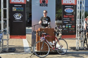 Congressman Adam Shiff addresses the crowd; photo courtesy of Finish the Ride.
