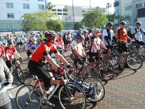 Finish the Ride founder Damian Kevitt joins the assembled riders for the start of the 50-mile ride; it was only two years ago that he lost his leg in a horrific hit-and-run.