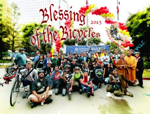 Just a few of the bike riders who turned out for the Blessing of the Bicycles hosted by Good Samaritan Hospital on Tuesday; photo by Carolin Kewer.