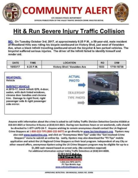 d432ad8ab The LAPD has sent out an alert to be on the lookout for a hit-and-run  driver who severely injured a man riding his bicycle on Victory Blvd near  Van Alden ...