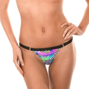 Bikini Stringtanga mit tropischer Musterung - Calcinha Bossa Black Mini