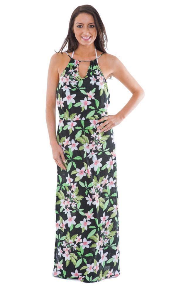 Langes Strandkleid, mit Blumen - Jacilandia