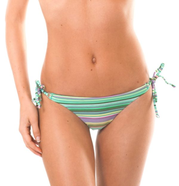 Grün gestreifte Bikinihose mit Seitenschnüren - Calcinha Iemanja Cheeky