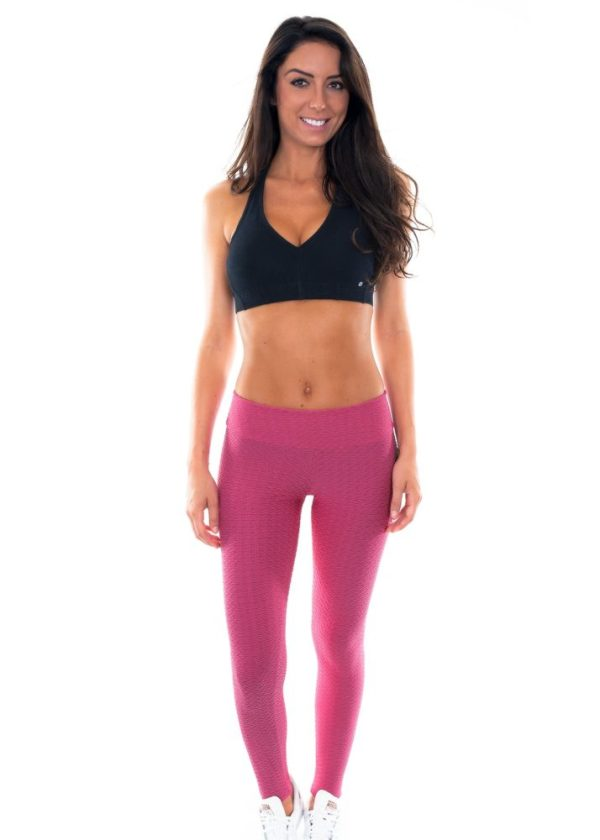 Rosa texturierte Fitness Leggings - Leg Twist Amaranto