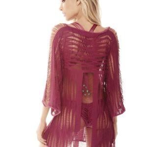 Strandkleid bordeauxfarben mit Makramee von DESPI