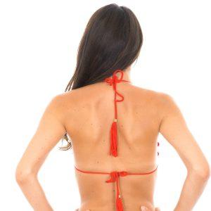 Bikini Triangle Oberteil rot, mit gewellte Ränder und Pompon - Rio de Sol