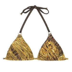 Goldengemustertes Bikini Triangel Oberteil mit Ringe - Rio de Sol
