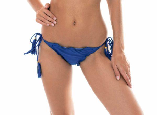 Jeans blaue Scrunch Bikinihose mit Fransen - Calcinha Denim Frufru