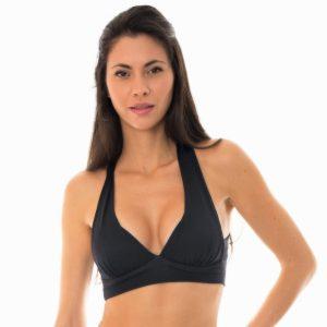 Schwarz texturiertes Bikini-Top im Sport-BH-Stil - Duna Black Top Fitness